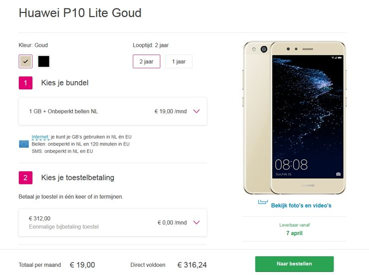Huawei P10 Lite in the offer of Dutch T-Mobile