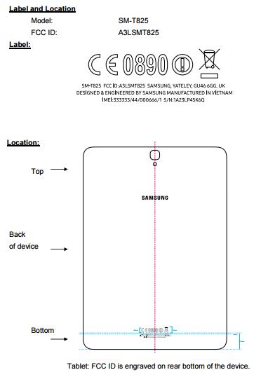 Samsung Galaxy Tab S3 in FCC