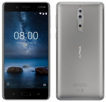 Nokia 8 синего и серебряного цвета