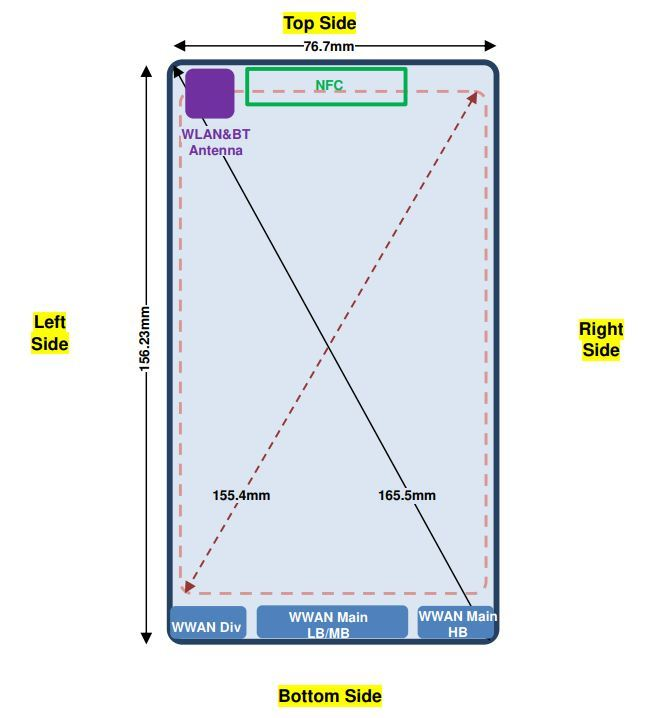 Information about the smartphone and its dimensions