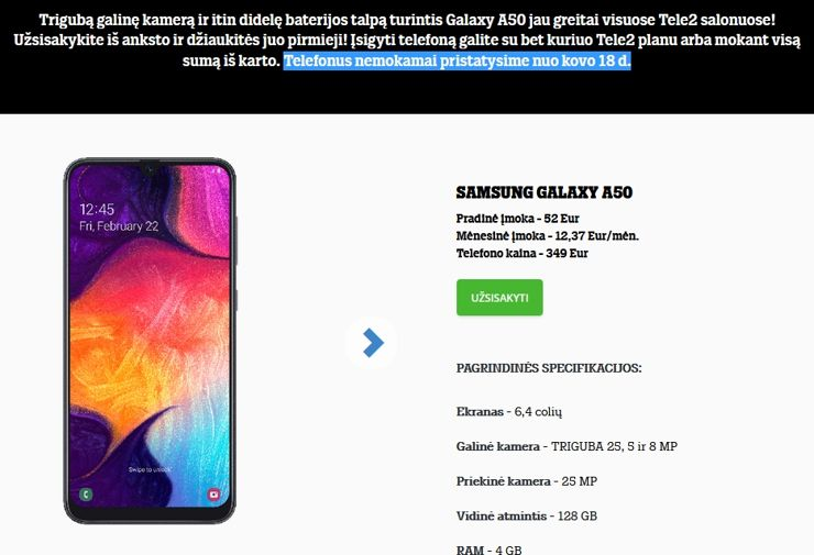 Samsung Galaxy A50 в Tele2