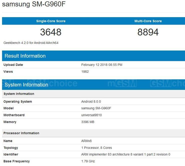 Samsung Galaxy S9 in Geekbench