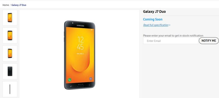 Samsung Galaxy J7 Duo (2018) on Samsung India website