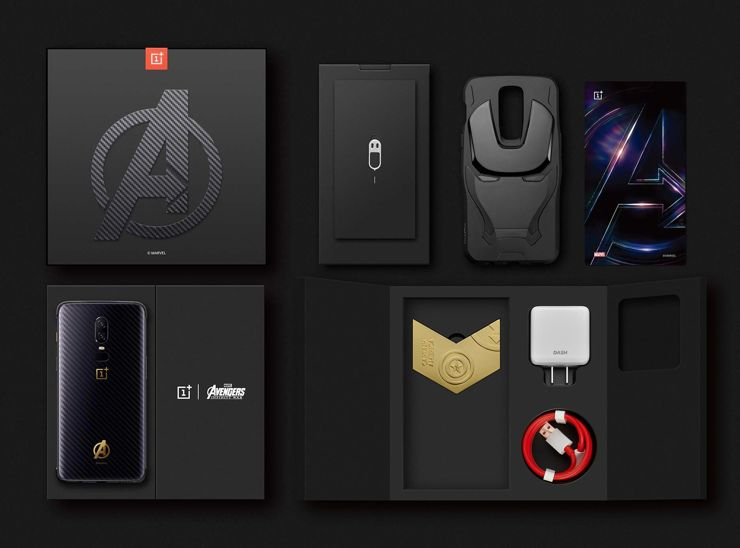 The pacaging and the set of OnePlus 6 Avengers: Infinity War Edition