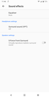 Sound settings | Music player