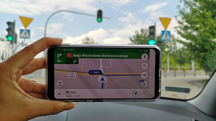 The smartphone works great as a navigation tool