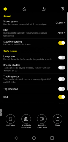 Camera app: modes and settings