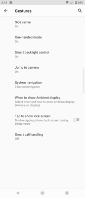 Image settings | Selected functions and gestures